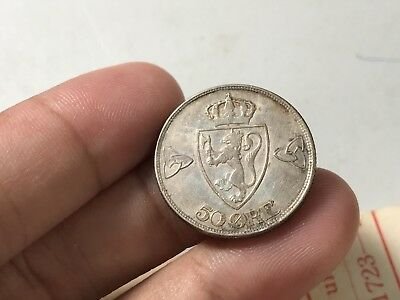 1918 Norway 50 Ore silver world coin great condition high value