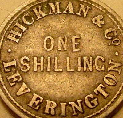 Old Leverington Wisbech England Hickman & Co. One Shilling White Medal Token!