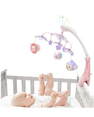 GrowthPic Musical Baby Crib Mobile with Star Projector Nursery Function, Arm, 30