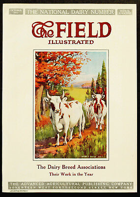 1915 THE FIELD Illustrated Magazine DAIRY COWS Fall Leaves Farm Art COVER ONLY