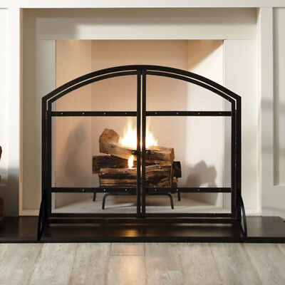 Pleasant Hearth Harper Arched Fireplace Screen Heavy Duty with Black Metal Doors