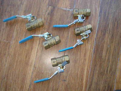 "5 Neles- Jamesbury 1/2"" Npt Brass Lockout Ball Valves 200 Psi 400 Cwp"