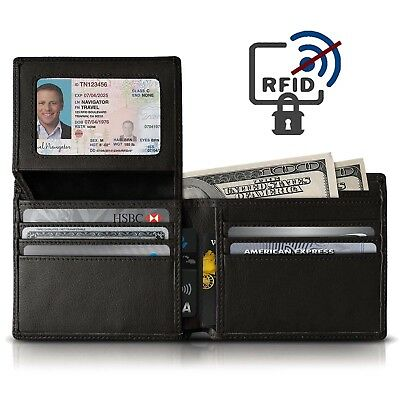 RFID Blocking Black Leather Wallet Slim Purse Bifold Credit Card Holder