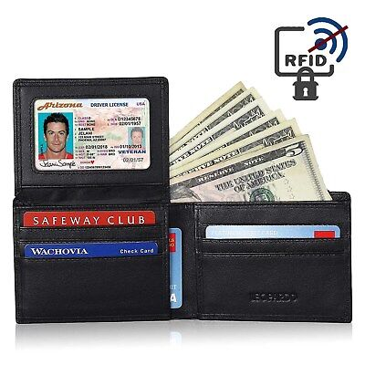 RFID Blocking Fine Luxury Italian Leather Mens Bifold Slim Wallet for Cash Cards