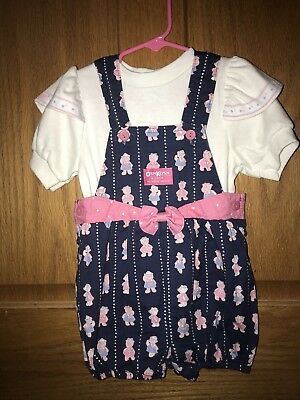 VIntage OshKosh B'gosh Girls 4T Vestbak Blue Sailor Bear Print Shortalls Outfit