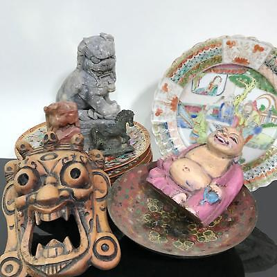 Vtg Chinese Foo Dog Stone Thousand Buddha Export Plate Figurine Collection Lot