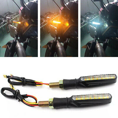 2PCS Universal 15LED Motorcycle DRL Water Flowing Turn Signal Indicator Light