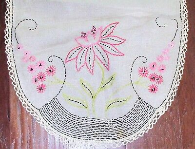 Table Runner Arts Crafts Linen 17 x 49 Linen Embroidered Floral Lace Trim