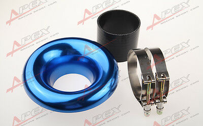 """Universal 3.5"""" Blue Velocity Stack For Cold/ram Engine Air Intake/turbo Horn"""