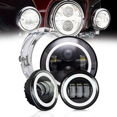 "7"" LED Projector Daymaker Headlight+4.5"" Passing Light Kit for Harley Touring"