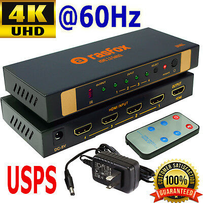 Rasfox 4K 60Hz 4x1 HDMI 2.0 Switch Switcher Selector Splitter + Remote, DHCP 2.2