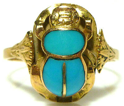 Vintage Egyptian Revival Turquoise Scarab 18K Yellow Gold Womens Ring Size 9.75