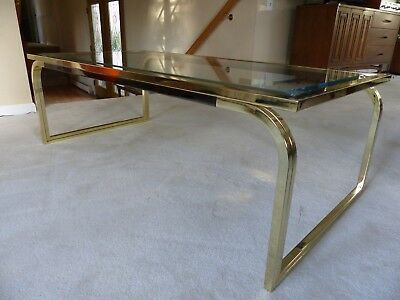 VINTAGE Mid Century Modern Brass and Smoked Lucite Regency Table by ROMEO REGA