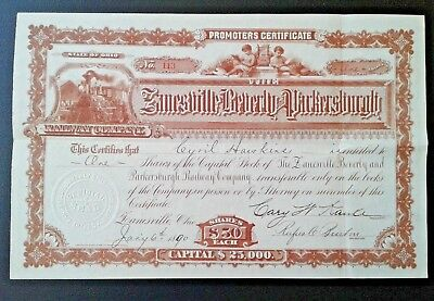 Stock certificate Zanesville, Beverly and Parkersburgh Railway Company, 1890