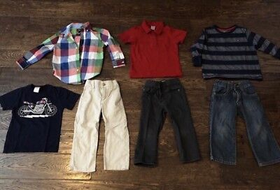 Lot of 7 Toddler Boy Clothing Shirt Top Jeans  2T Old Navy Gymboree Hilfiger EUC