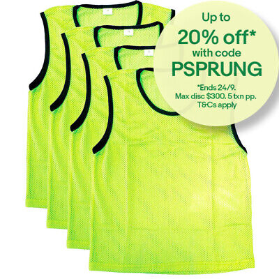4PK Summit Small Size Sport/Soccer/Rugby Training Mesh Bibs/T-Shirt Vest Yellow
