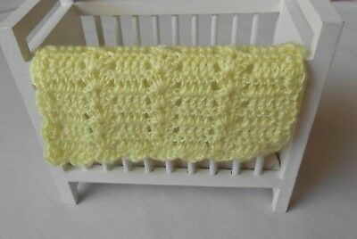 Dollhouse Miniature Crochet Baby Afghan / Blanket ~ Yellow ~ Soft Silk Yarn