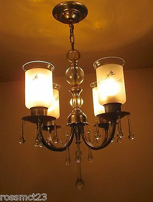 Vintage Lighting lovely petite 1940s brass glass chandelier