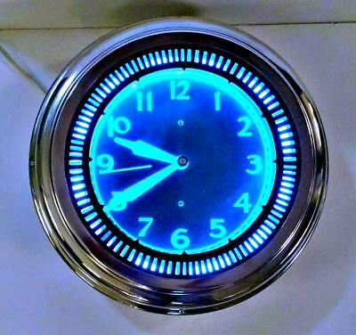 Vintage Art Deco 1950's Diner Aqua Blue Neon Clock Sales Chicago Spinner Clock