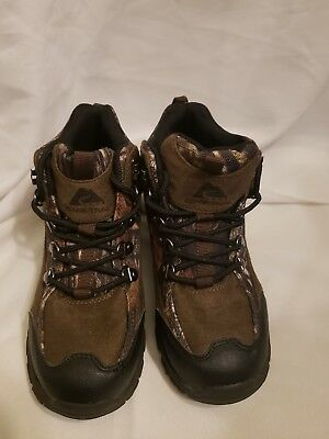 Ozark Trail Kids Camo Camouflage Brown Hiking Walking Boots Shoes Youth Size 2