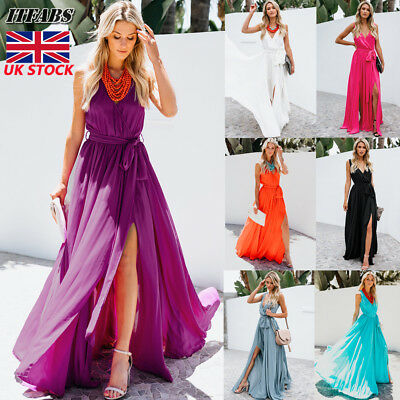UK Long Chiffon Evening Formal Party Ball Gown Prom Bridesmaid Maxi Dress 6-16