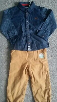 m&co new boy set trousers and navy blue shirt  18-24 months