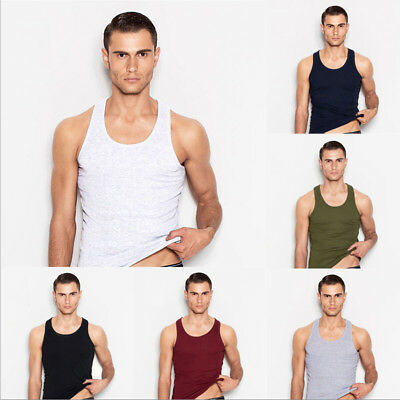Mens Bodybuilding Tank Top Gym Racerback Singlet Sleeveless Muscle Vest HOT