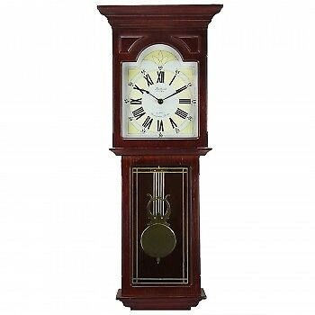 "Bedford Clock Collection Redwood 23"" Wall Clock with Pendulum and Chime"