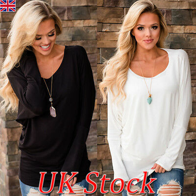 UK Womens Batwing Long Sleeve T Shirt Ladies Solid Color Casual Tops Blouse 6-16