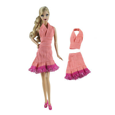 2Pcs/Set Handmade Pink Doll Dress Suit for Barbie 1/6 Doll Party Daily Clothes`-