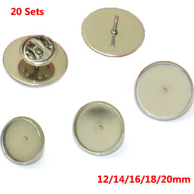 12-20mm Stainless Steel Lapel Pins Backs Brooch DIY Blank Cabochons Base Trays
