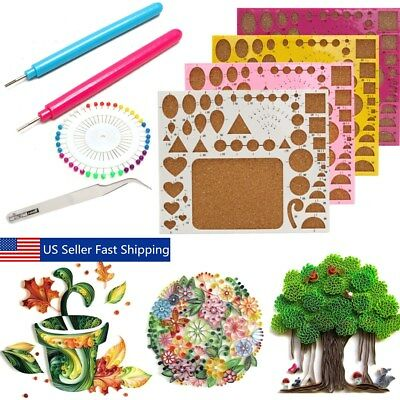 QUILLING KIT TEMPLATE Board Papercraft Tool Glue Pins Paper Set ...