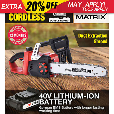 Matrix 40V Cordless Chainsaw Lithium Battery Electric Power Tool 3 Year Warranty