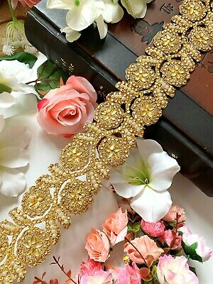 1 Yard Latest Indian Gold Zari Lace Diamond Champagne Stone Lace Border Trim