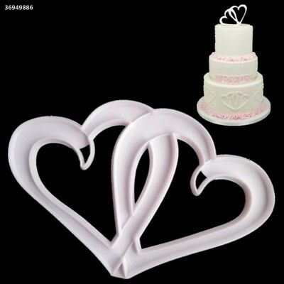 DIY Kitchen Tool Cake Embossing Die Cake Fondant Mould Double Heart Shape 11D2
