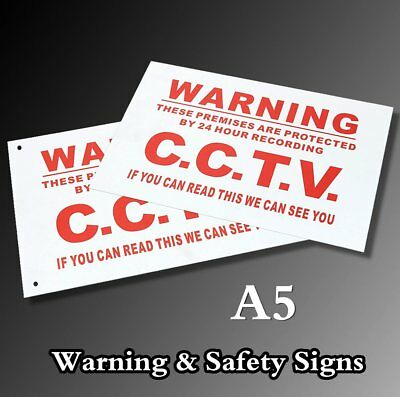 A5 Warning 24 Hour CCTV We Can See You Metal Sticker Security Safety Sign White