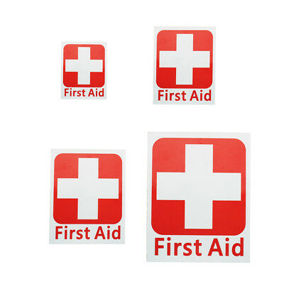 4 Size First Aid Set Sticker Vinyl Decal Sign Red Cross Health Safety Emergency