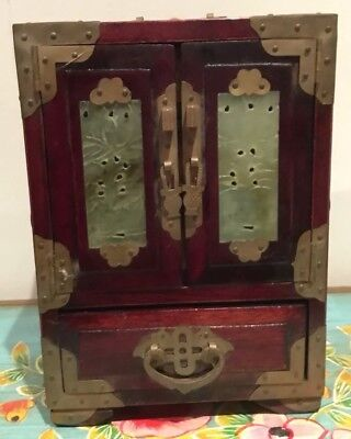 Vintage Oriental  Rose Coloured  Wood Jewellery Box Carved Stone Detail