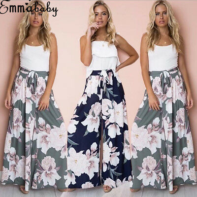Emmababy Women Boho Floral Long Pants Palazzo Baggy Wide Leg Summer Yoga Trouser