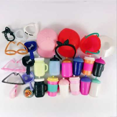 random 10x LOL Surprise Doll Accessory Lil Sister glasses hat juice cup cake toy