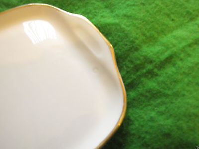 Sweden Rorstrand pottery ceramic tray salver plate gold plated white gold signed