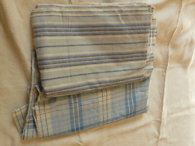2 Bolts Antique French fabric cotton Stripes and checks 1920 S warm Blues