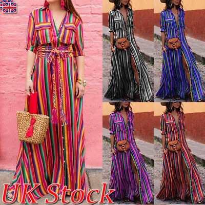 Boho Women Summer Holiday Striped Maxi Dress V-neck Long Shirt Dress Plus Size