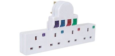 Plug-in 4 way mains adaptor with surge protection