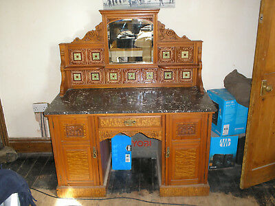 Victorian washstand - large&versatile.Marble topped,tile backed.