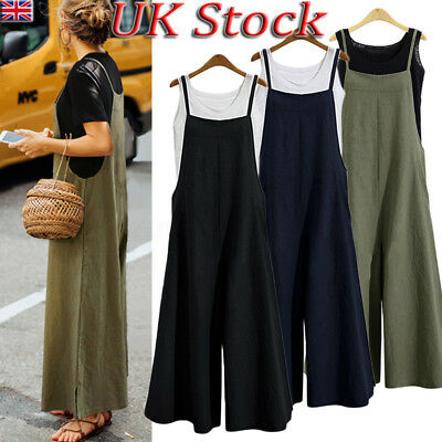 UK Womens Sleeveless Dungaree Jumpsuits Cargo Pants Trousers Overalls Plus Size