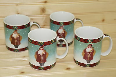 "Block Father Christmas (4) Mugs, 4"" tall"