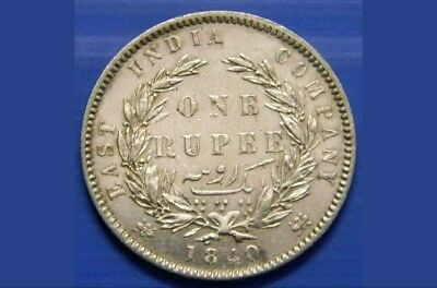British India- East India Company..1840 Queen Victoria One Rupee Silver Coin