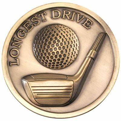 GOLF MEDALLION - ANTIQUE GOLD LONGEST DRIVE 2.75in PACK OF TEN
