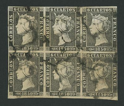 Spain 1850 #1 Queen Isabella II block of 6